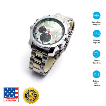 1080p HD Night-Vision Spy Watch (Silver)