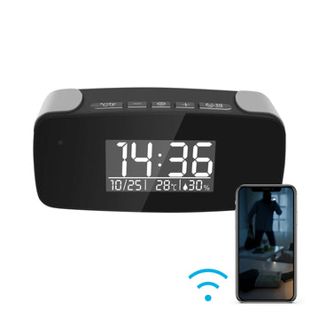 1080p Night Vision Wi-Fi Alarm Clock Hidden Camera