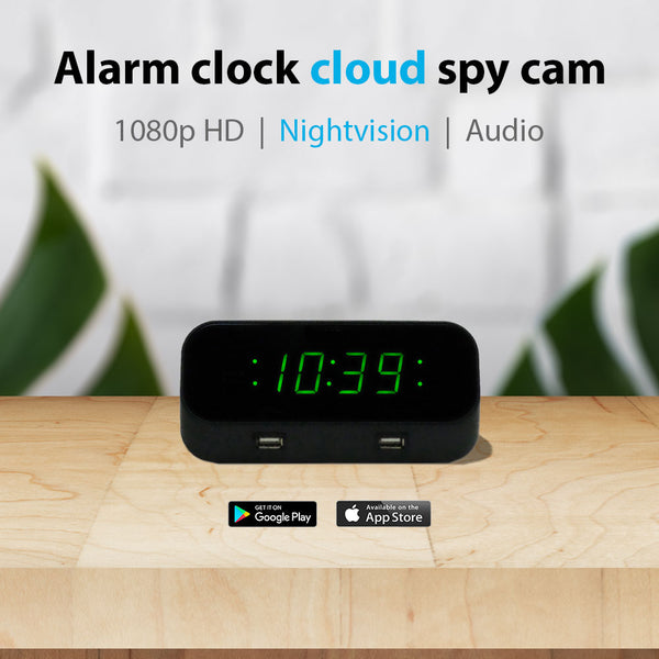 1080p Night-Vision Alarm Clock Hidden Wi-Fi Camera