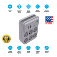 4K 6-Outlet Power Adapter Hidden Wi-Fi Camera