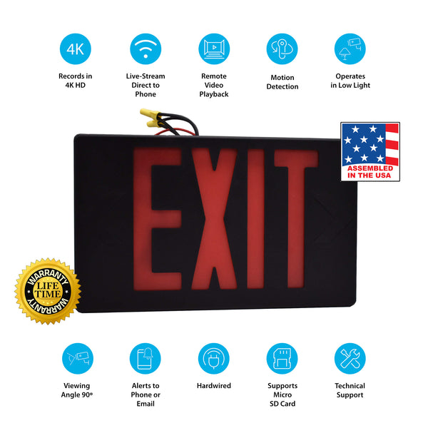 4K Exit Sign Hidden Wi-Fi Camera