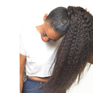 Puff Ponytail Kinky Straight Brazilian Human Hair Extension