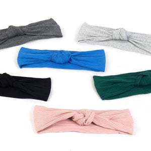 Geebro Women's Plain Summer Headband Cotton Ribbed Knot Elastic Hair Band For Girls Female Stretch Head Bandage Hair Accessories