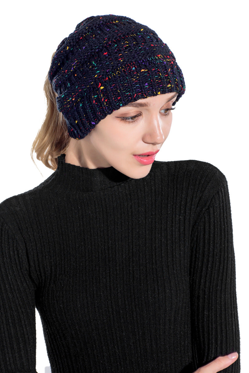 Warm Ponytail beanie hat with Confetti Colours