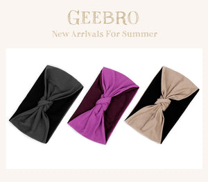Geebro Summer Fashion Women Patchwork Headband Boho Turban Hairband For Female Girls Cotton Stretchy Band Cross Knot Accessories