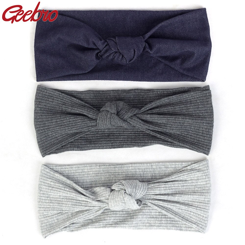 Geebro Summer Boho Ribbed Hairband For Women Knotted Striped Elastic Headband Female Turban Wraps Cotton Hair Accessories