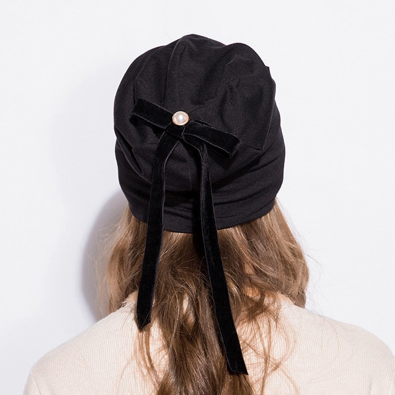 Soft Cotton Beanies With Hip-hop Bow