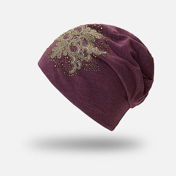 Floral Ponytail Stretchy Slouchy Beanie