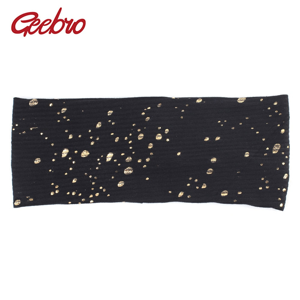 Women's Splatter Paint Headband Autumn Metallic Color Ribbed Cotton Flat Headbands for Femme Ladies Black Turban Spa Hair Band - daretowearyourhair