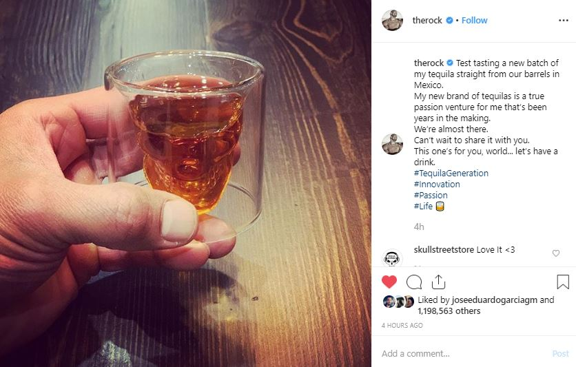 Dwayne The Rock Johnson Tries New Tequila In Skull Street Glass