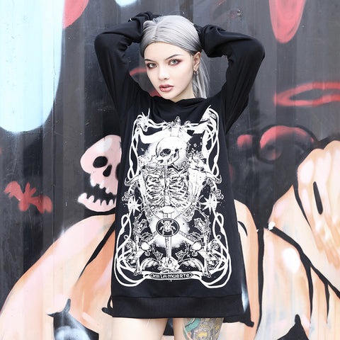 Image of Roesia Skull Print Hooded Dress
