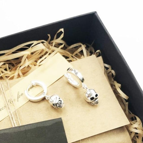 Image of Kalan Hoop Skull Earrings
