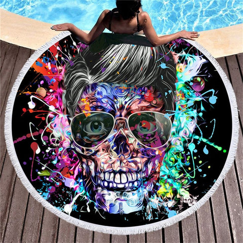 Image of Casey Skull Print Round Towel