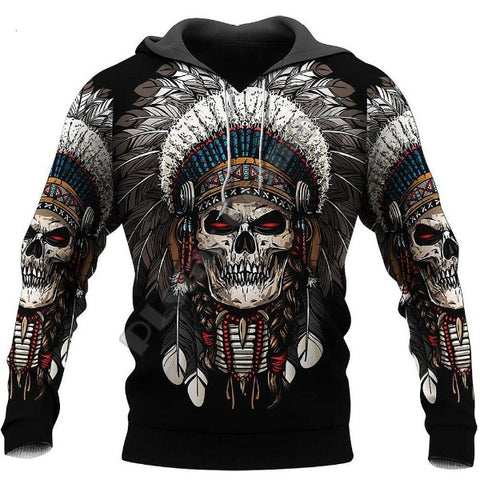 Image of Aden Indian Chief Skull Hoodie