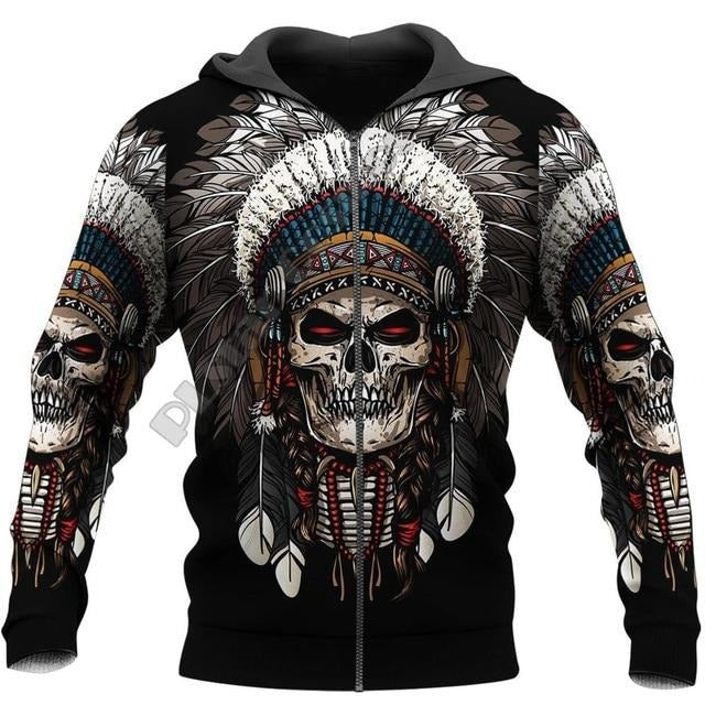 Aden Indian Chief Skull Hoodie