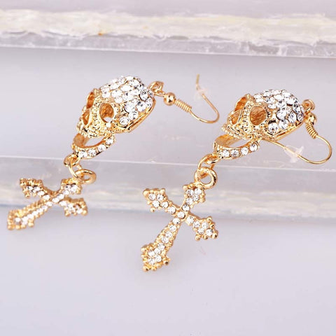 Image of Dana Rhinestone Skull Earrings