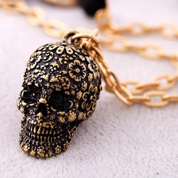 Lady Punk Skull Pendant Necklace