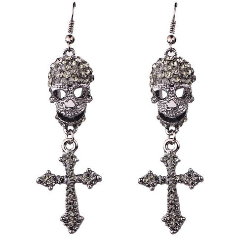 Dana Rhinestone Skull Earrings