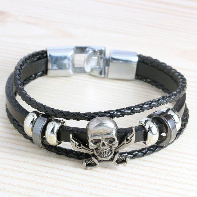 Franco Leather Woven Skull Bracelet