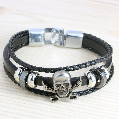 Image of Franco Leather Woven Skull Bracelet