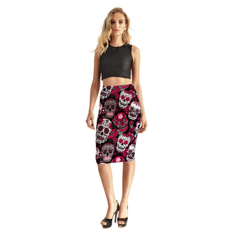 Image of Lina Skull Pencil Skirt