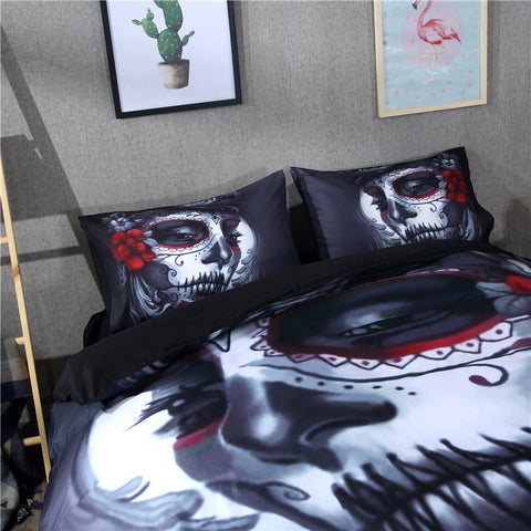 Image of Harley Sugar Skull Bedding Set