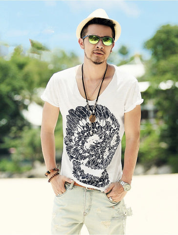Image of Orion V Neck Skull Tee