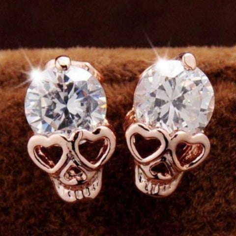 Image of Haley Heart Eyes Skull Earrings