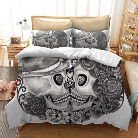 Image of Draven Skull Couple Duvet Set