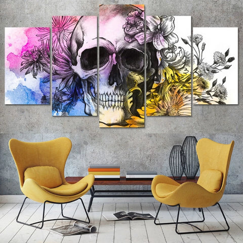 Image of Dryden Skull 5 Panel Canvas Print