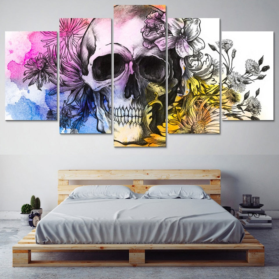 Dryden Skull 5 Panel Canvas Print