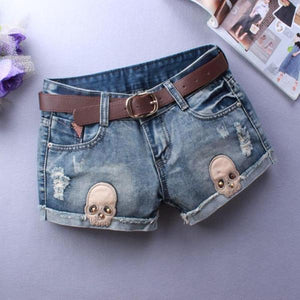 Kyra Denim Skull Shorts