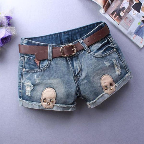 Image of Kyra Denim Skull Shorts