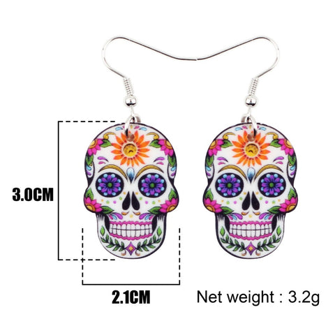 Danon Acrylic Skull Drop Earrings