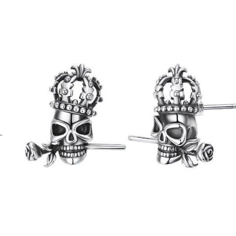 Image of Starr Skull Crown Stud Earrings