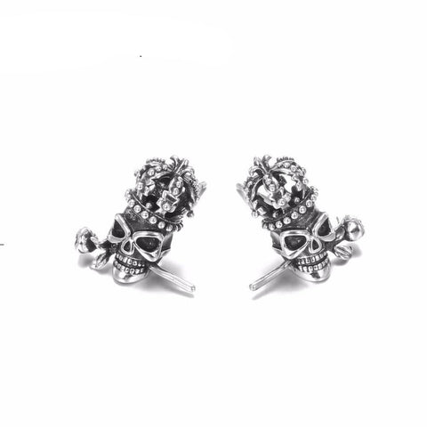 Starr Skull Crown Stud Earrings