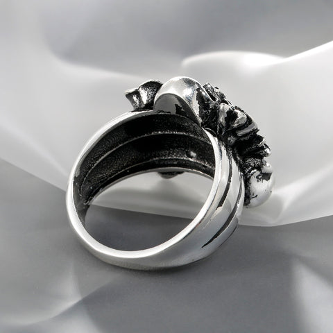 Image of Raine Silver Skull Rose Ring