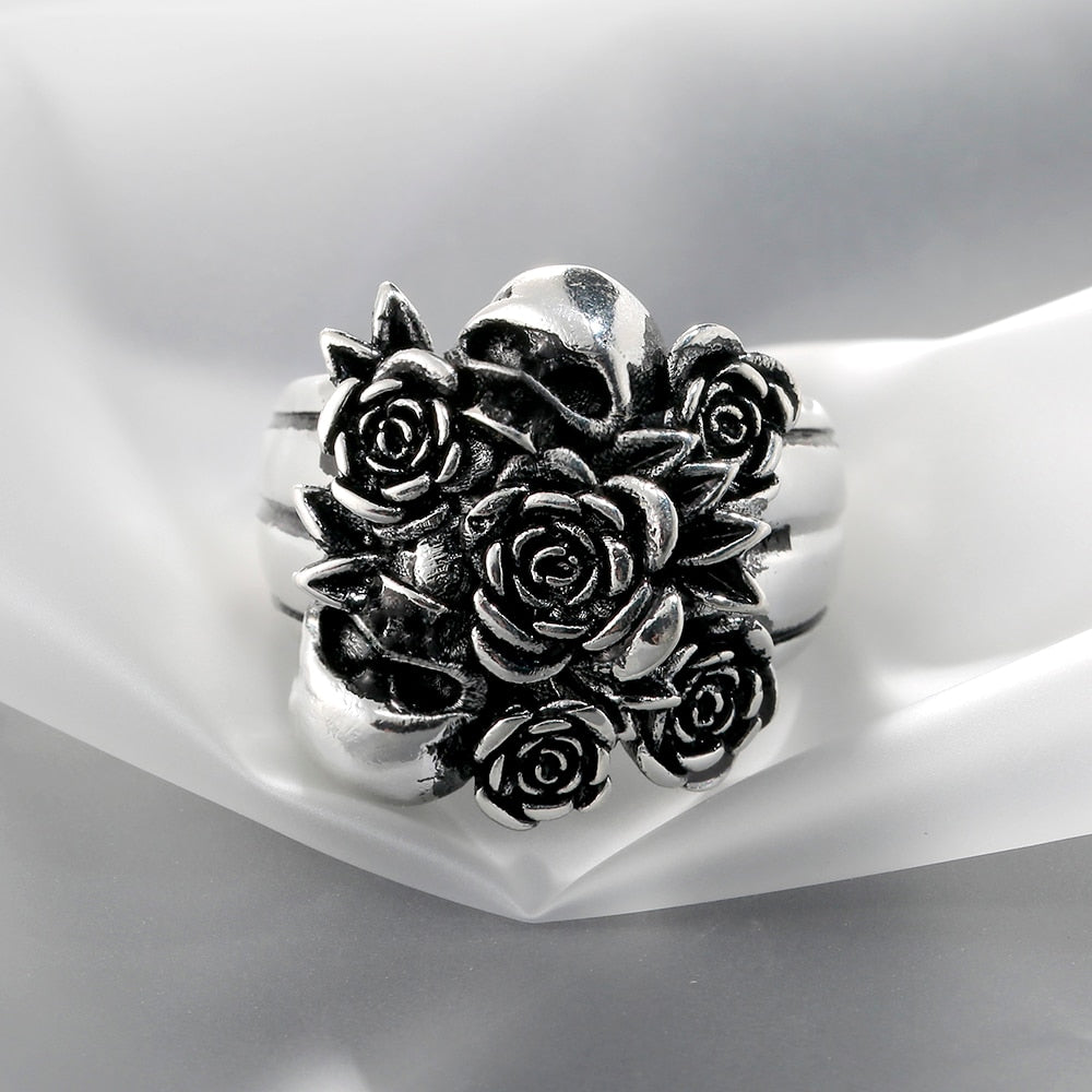 Raine Silver Skull Rose Ring
