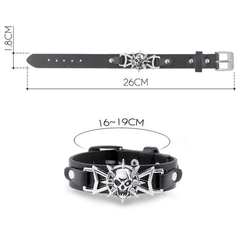 Ezra Leather Skull Punk Bracelet