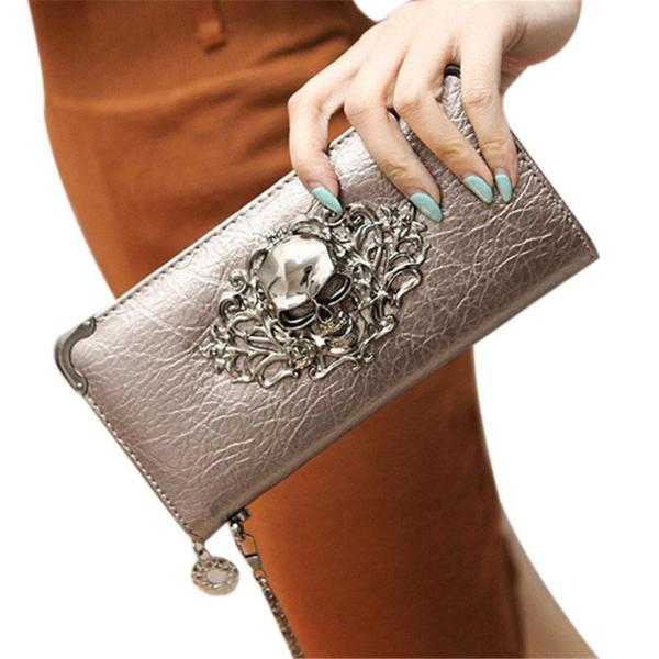 Skyla Fashion Metallic Skull Wallet