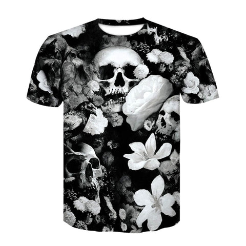 Image of Devin Skull Flower T Shirt