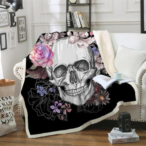 Image of Aurora Skull Fleece Throw Blanket