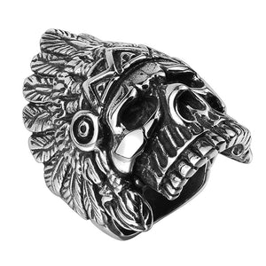 Ryder Indian Chief Skull Ring