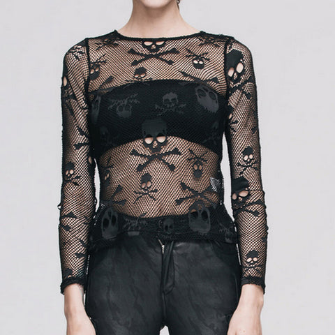 Image of Tia Mesh Skull N Crossbones Top