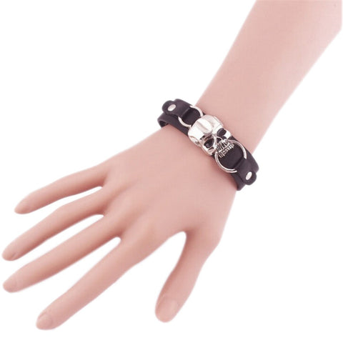 Image of Hamo Punk Skull Leather Bracelet