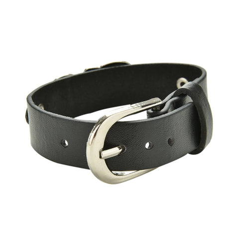 Hamo Punk Skull Leather Bracelet
