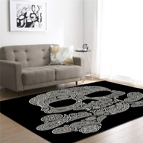 Image of Asher 3D Skull Print Living Room Mat