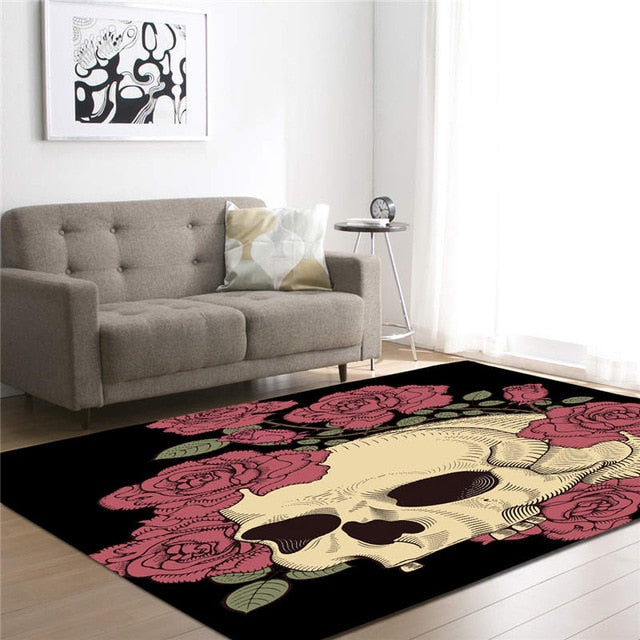 Asher 3D Skull Print Living Room Mat
