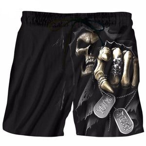 Theron 3D Print Skull Shorts