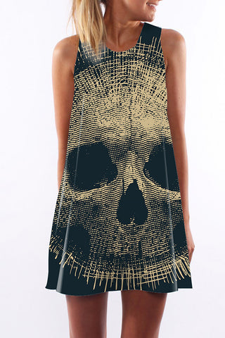 Image of Dallas Skull A Line Mini Dress